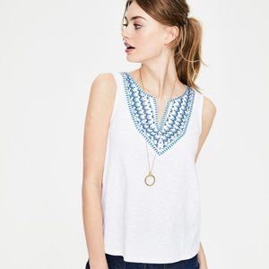 Boden Embroidered Notch Neck Sleeveless Top